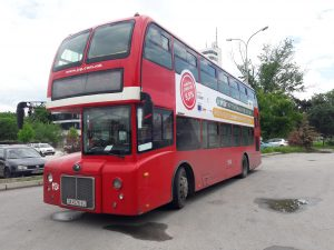 Doppelstockbus in Skopje